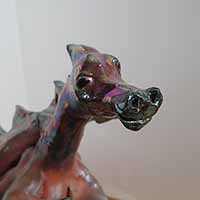 red clay dragon sculpture