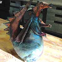 copper blue clay dragon sculpture